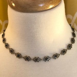 Silver and Rhinestone Choker Style Necklace